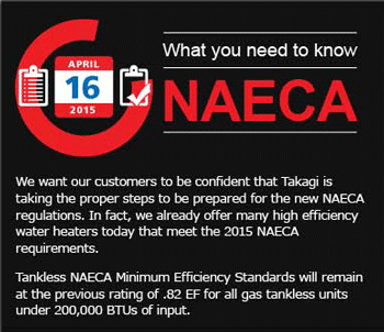 Takagi Water Heaters NAECA Compliance